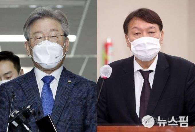 京畿道知事李在明(左)和前检察总长尹锡悦。【图片=纽斯频通讯社】